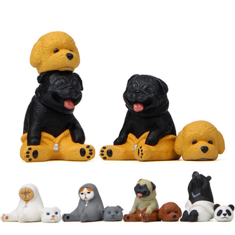 1 Pc Creative Animal Action Figure Toy Panda Bear cat dog Model Doll Ornament Micro landscape doll gift-0