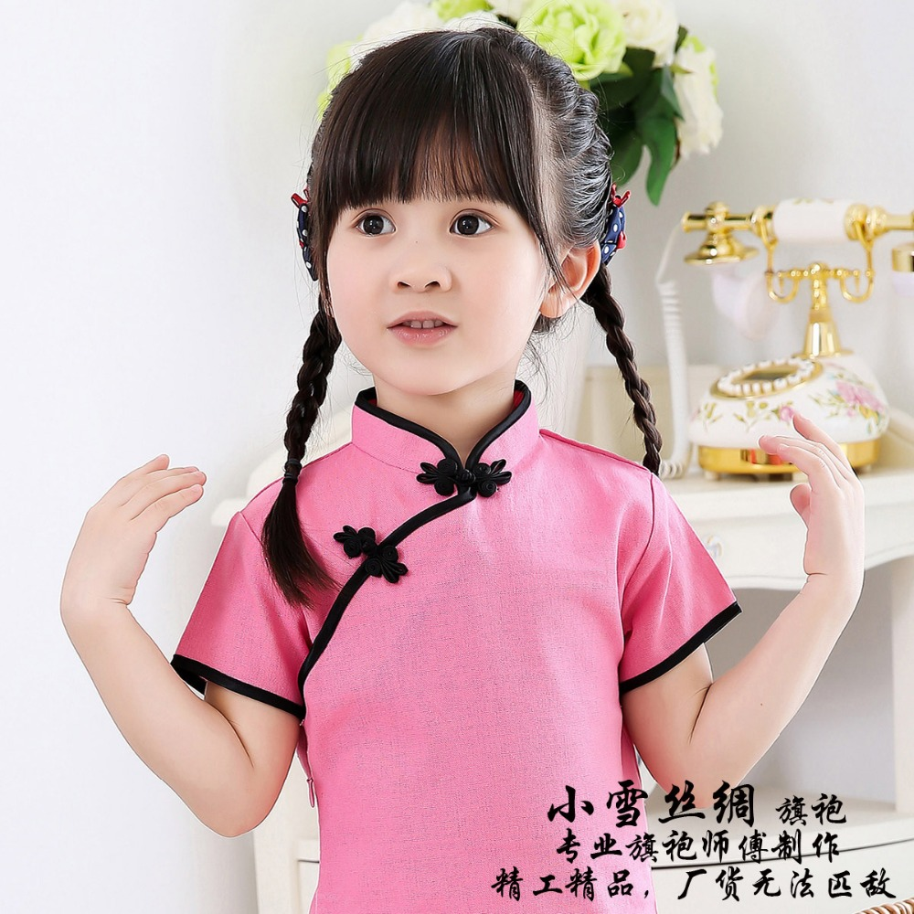 Solid Baby Girls Dress Chinese New Year Traditional Qipao Children Chi pao Kids Cheongsam Linen Girl 39 s Clothes Summer Tops in Dresses from Mother amp Kids
