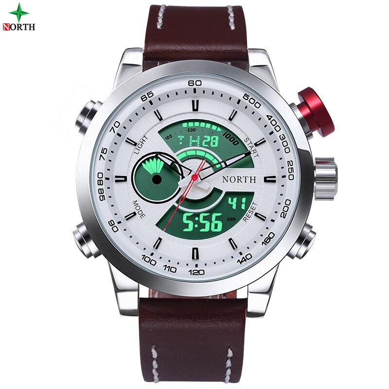 Men Sport Watch 30M Waterproof LED Digital Male Watches NORTH Brand Genuine Leather Alarm Casual Quartz Military Army Wristwatch