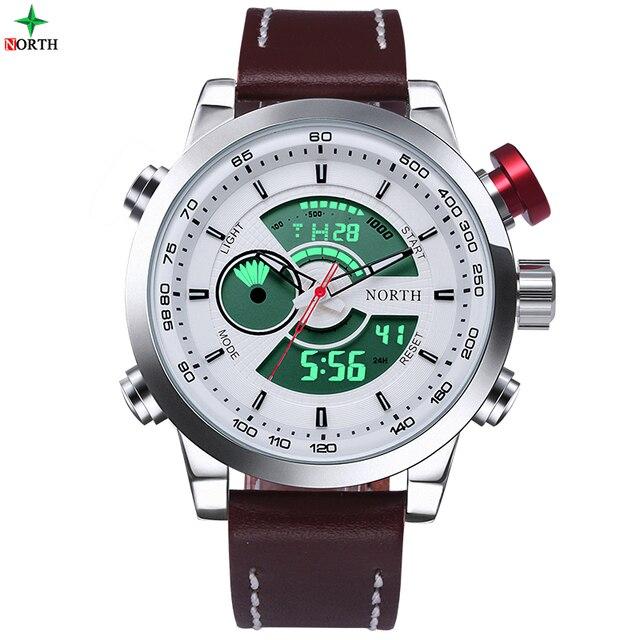 North 30 m impermeable calendario alarma led digital relojes masculinos 2016 cuero genuino moda casual cuarzo de los hombres reloj deportivo