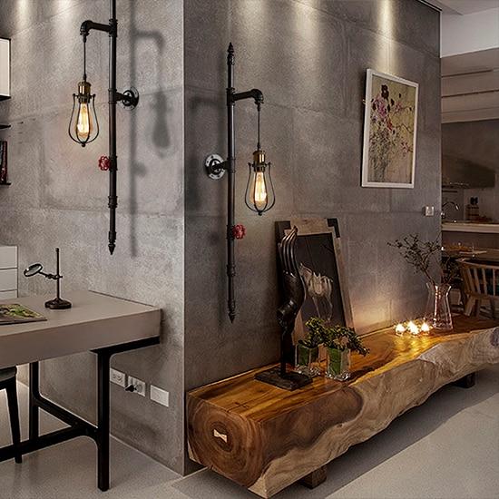 Car Garage Loft Retro Style: Loft Industrial Style Water Pipe Wall Lamp. Retro