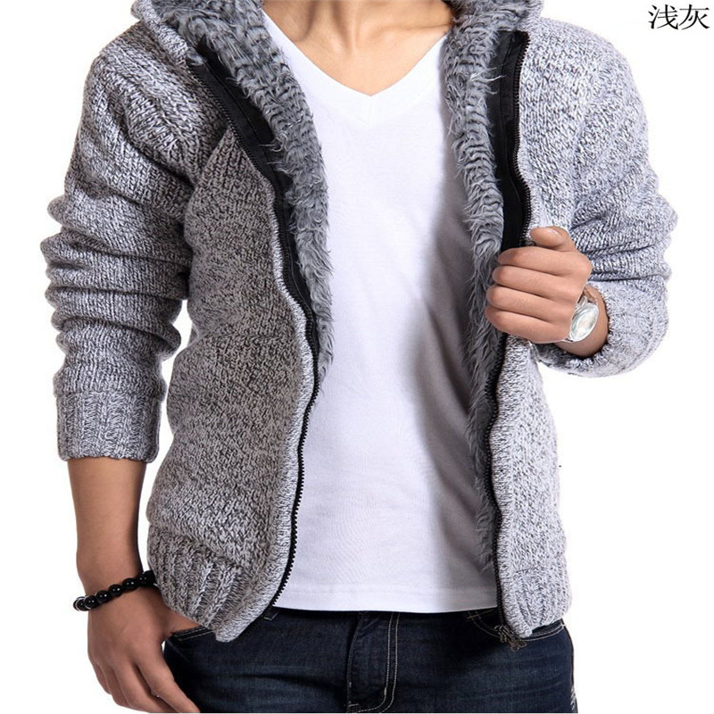2017 brand autumn and winter men's hooded cardigan plus cashmere ...