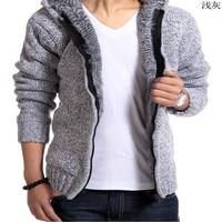2017 Brand Autumn And Winter Men S Hooded Cardigan Plus Cashmere Sweater Coat Plus Velvet Thick