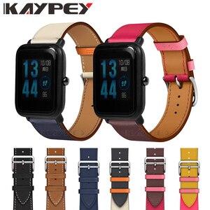 Ремешок для часов из натуральной кожи, браслет на запястье для Xiaomi Huami Amazfit Bip Youth Watch, 20 мм, модный браслет на запястье