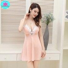 2019 new summer Korean sexy lace low-cut sling deep v backless Slim nightclub a dress Knee-Length  V-Neck Solid