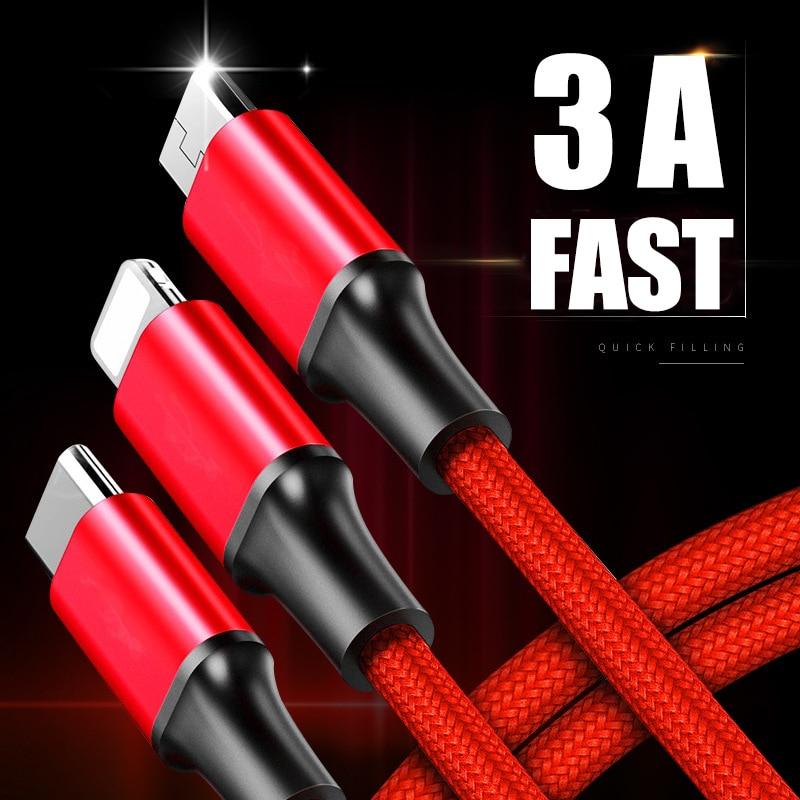 3in1 2in1 Usb Kabel Für Iphone X 8 7 6 Kabel Micro Usb Typ C Kabel Für Samsung S9 S8 Schnelle Ladekabel 3a Ladegerät Kabel