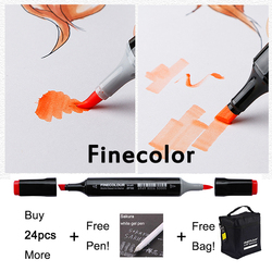 Professional Brush FINECOLOUR Art Marker Twin Tip Soft Brush/Round Alcohol Base Ink Comic Design Art Supplies EF102