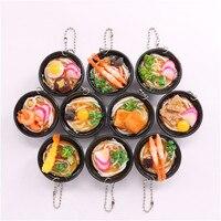 10pcs Set PVC Miniature Ramen Keychain Toy Simulation Japanese Food Noodles Key Ring Pretend Play Kitchen
