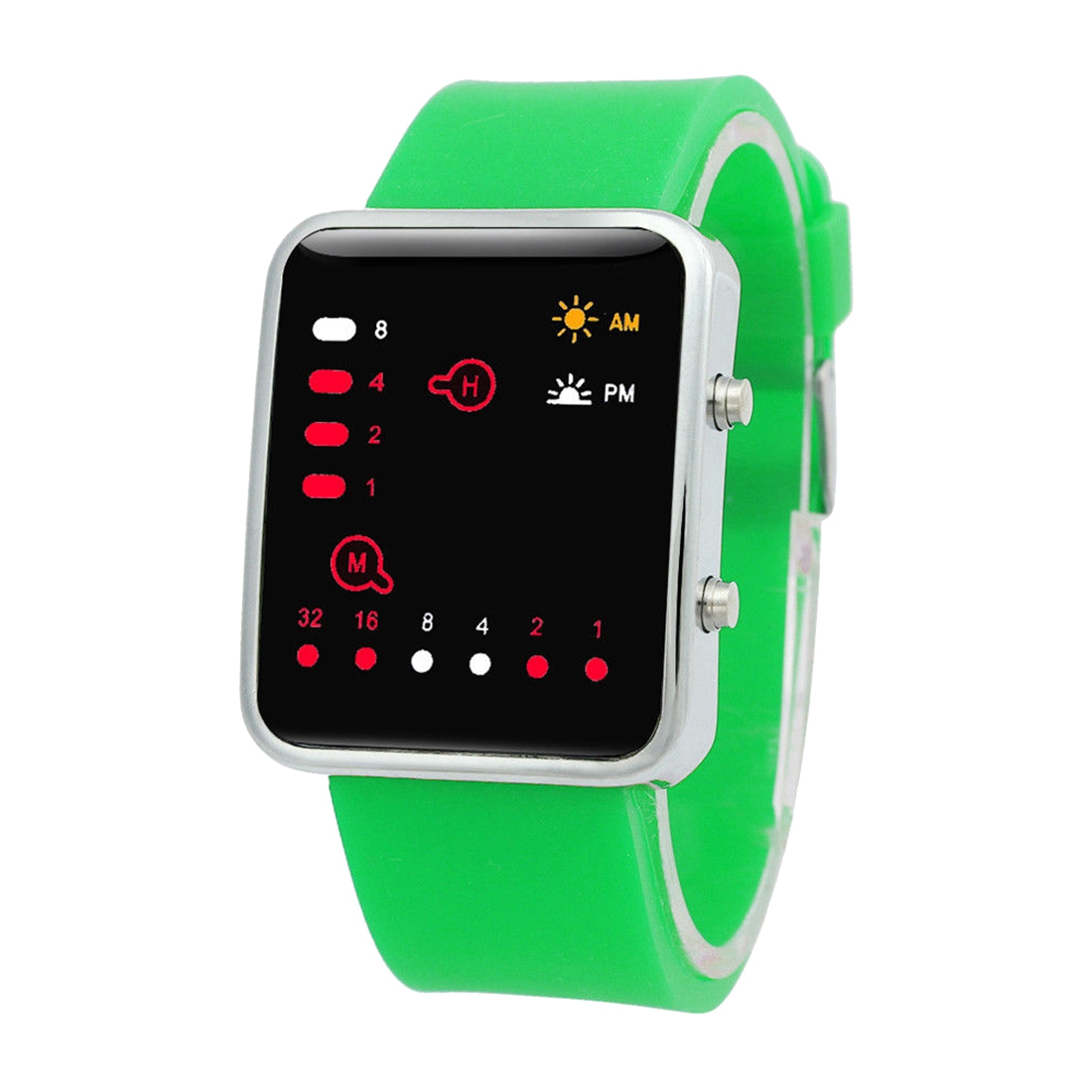 Unisex Silicone Sport Watch Red LED Digital Binary Wrist Sport Item Color:green plastic silicone wrist fingers arm training force ball w led red green black