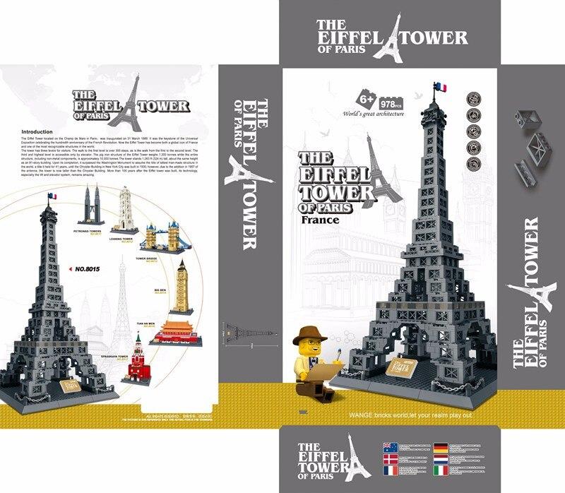 Famosa Arquitetura Da Série 978 pcs A Torre Eiffel 3D Tijolos de Blocos de Construção do Modelo Classic Toys Compatível com Legoed - 6
