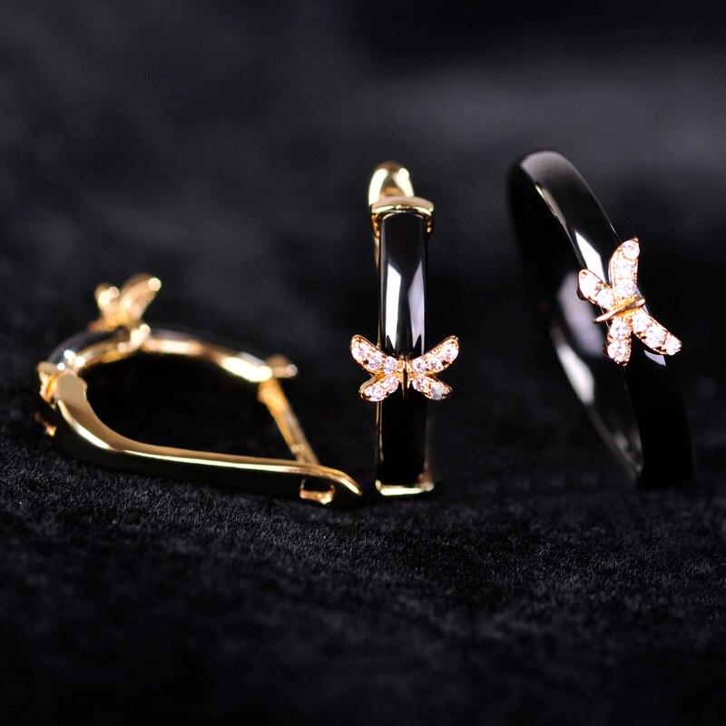 Luxury Black Ceramic Earring & Ring Set For Women Cubic Zircon Rhinestone Copper Brinco Butterfly boucle d'oreille Jewelry Set