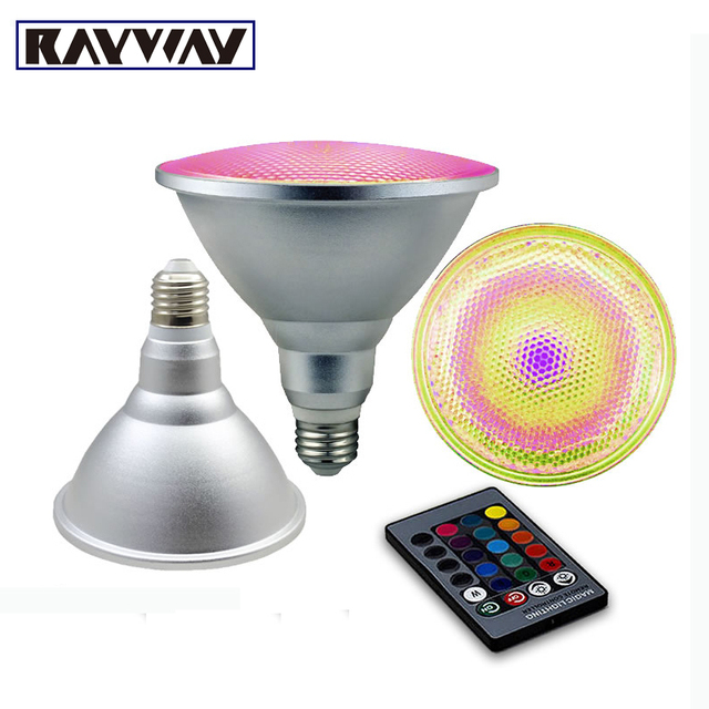 RAYWAY Par30 Par38 10w 20w RGB LED Spotlight Dimmable Umbrella Lamp aluminum & glass waterproof Remote Control Bulb AC110V-220V