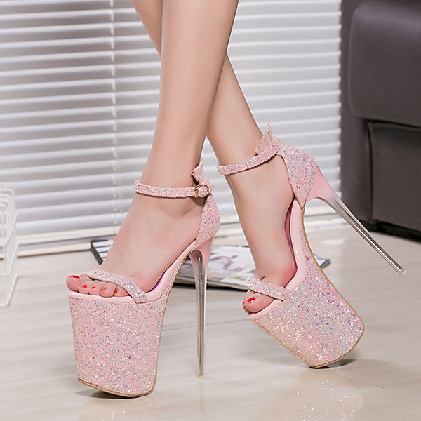 bd0685c77f40 20cm pink pumps shoes high-heel 20cm thin heel sandals shoes 9cm plarform  shoes peep toe party heels silver high heels plus size