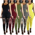 Women Bandage Bodysuit 2017 Summer Style Crew Neck Sleeveless Ripped Skinny Long Jumpsuit Rompers Fashion Party Club Overalls