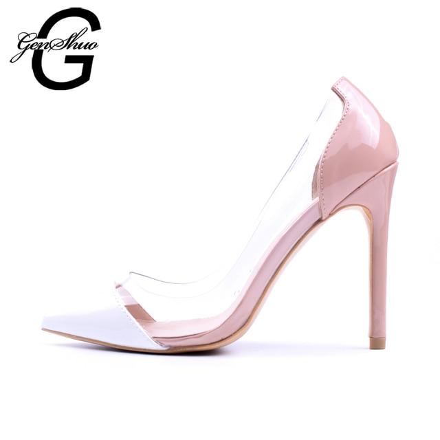 GENSHUO Women Pumps Transparent Thin High Heels 3