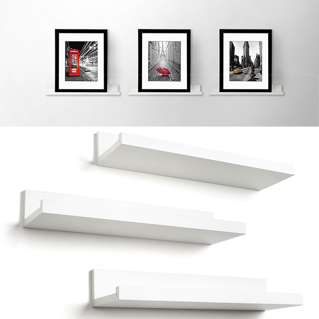 3pcs Set Modern Design Wall Mounted Floating Shelf Bookshelf Frame Display Rack Ledge Storage Holders Racks Home Decor