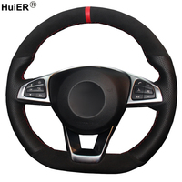 Black Suede Genuine Leather Volant Car Steering Wheel Cover For Mercedes Benz C200 C250 C300 Sport CLA220 B250 B260 A200 A250