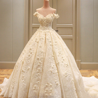 Princess Real Wedding Dress 2017 Off Shoulder Weddding Dresses Robe De Mariage Appliques Lace With Flower