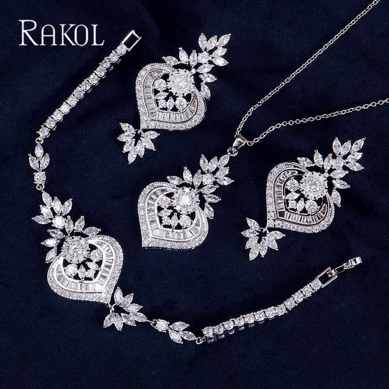 283538ad1 ... RAKOL Exclusive Dubai White Color Jewelry Luxury Cubic Zirconia  Necklace Earring Bracelet Party Jewelry Set For