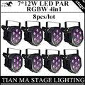 8 pcs/7x12 w rgbw 4in1 led par luzes par plana led controle dmx luzes de discoteca profissional equipamentos de dj