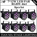 8pcs / 7X12W LED PAR lights RGBW 4in1 flat par led dmx control disco lights professional dj equipment