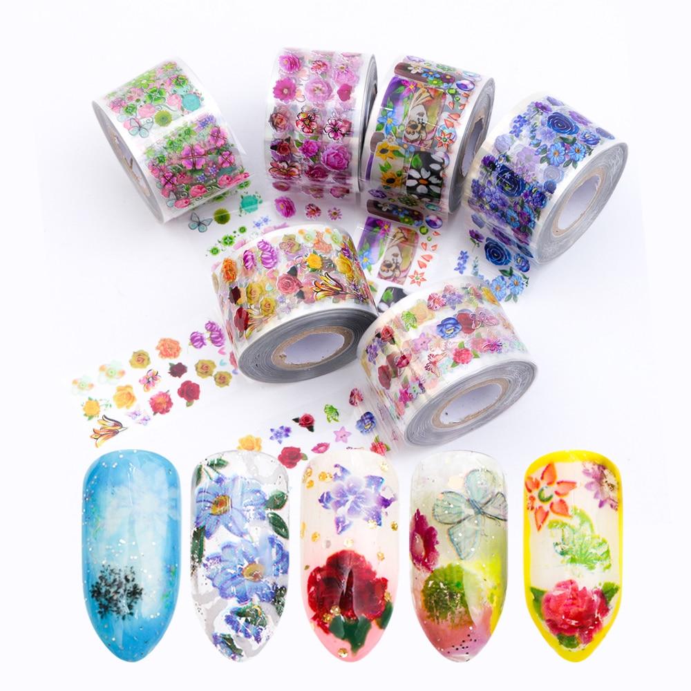 8 Rolls set Nail Art Transfer Foils Stickers Transparent Base 3 8x120m Colorful Flowers Nail Sliders