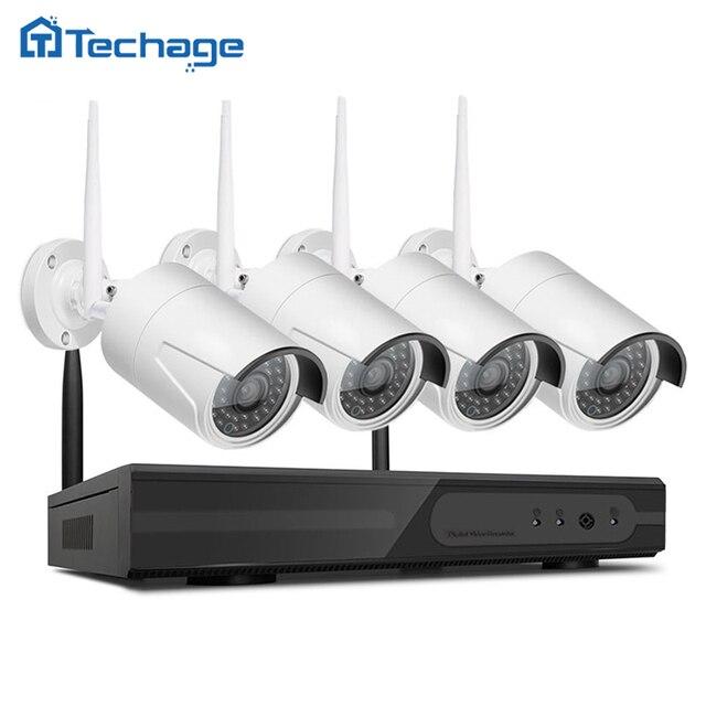 Techage 4CH 1080 P Беспроводной NVR Системы ВИДЕОНАБЛЮДЕНИЯ Комплект P2P 4 шт. WI-FI Ip-камеры Открытый 2.0MP Водонепроницаемый Безопасность Видео Surveillance Kit