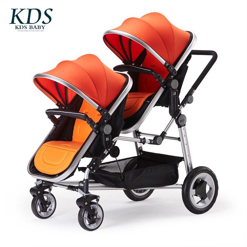 Frete Grátis Twins Bebê Carrinho de Criança Dobrável Carrinho de Bebê Gêmeo Terno para Mentir e Com Capacidade Para 2017 Novo Design