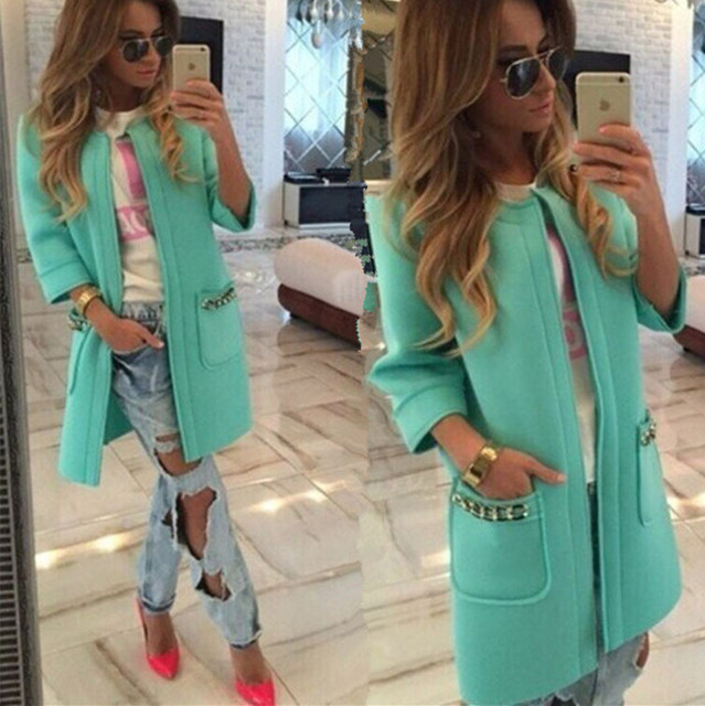 New Fashion 2016 Spring Long Coat Open Stitch Trench Solid Coat for Women Popular Trench C207