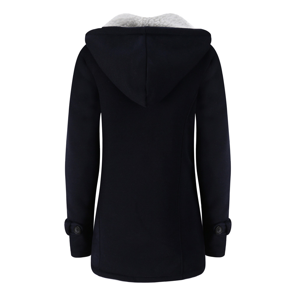 Jacket Coat Winter Women 2019 Hooded Wool Blend Praka Classic Horn Leather Buckle Coat Slim For Ladies Winter Jacket Woman Parka 2