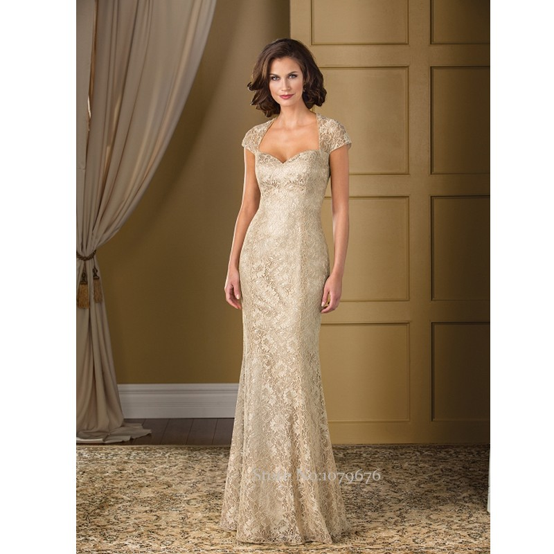 2016 Cap Sleeve Champagne Elegant Mother Bride Dresses Long Lace
