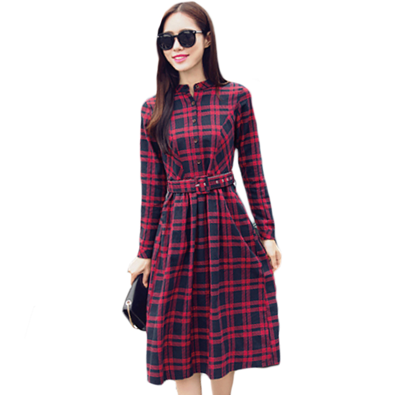 Casual Shirt Dress Red Green Women Spring Autumn Winter Dress 2017 New Fashion Long Sleeve Ladies Button Down Midi Dress XH1110 1
