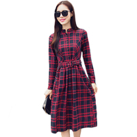 Casual Shirt Dress Red Green Women Spring Autumn Winter Dress 2017 New Fashion Long Sleeve Ladies Button Down Midi Dress XH1110