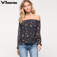 Witsources Women Sexy Slash Neck Chiffon Blouses Shirts 2017 New Star Print Long Sleeve Casual Blouse