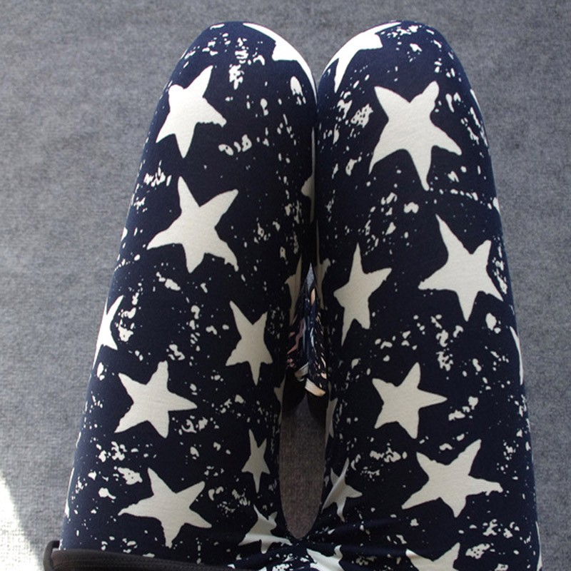 Spring Fashion Women Slim Black Milk Thin Stretch Leggings Colored Stars Graffiti Skinny Leggings Pants for Female