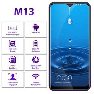 "Image 2 - 100% Orginal LEAGOO M13 אנדרואיד 9.0 19:9 6.1 ""Smartphone 4GB 32GB MT6761 Quad Core טביעת אצבע פנים מזהה 4G LTE טלפון נייד"