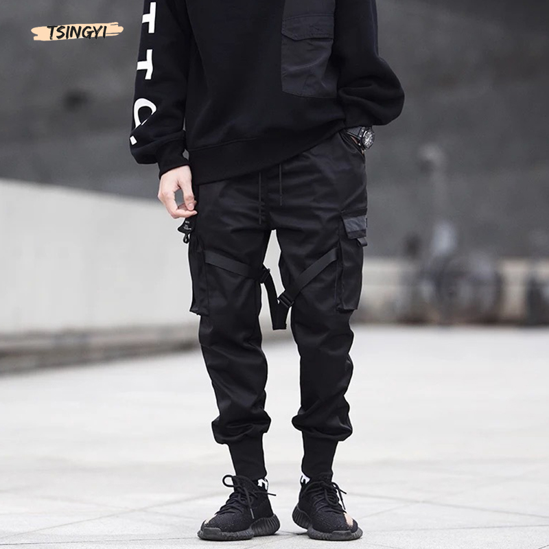 Tsingyi Vintage Color Block Black Ribbons Multi-Pocket Harem Pants Men Summer Streetwear Hip Hop Joggers Harajuku Sweatpant