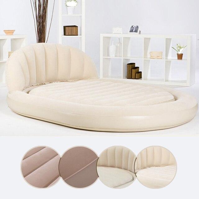 Doble Oval respaldo acuden superficie inflable cama de colchón de ...