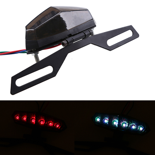 6 Led Universal Motorcycle License Plate Holder Rear Tail Light ...
