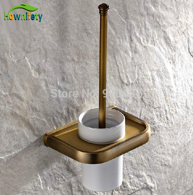 Wall Mount Ceramic Cup Toilet Brush Holder Antique Brass antique copper toilet brush holder ceramic solid brass bathroom toilet brush cup holder rack bathroom brush shelf