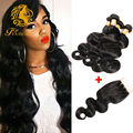 Cheap Brazilian Virgin Hair With Closure Body Wave 4 Pcs Human Hair Weave Bundles With Closure Brazilian Body Wave With Closure