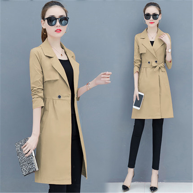 Fashion Windbreaker Female 2019 Spring Autumn New Women's Korean Large Size Long Section Waist Slim   Trench   Coats N534