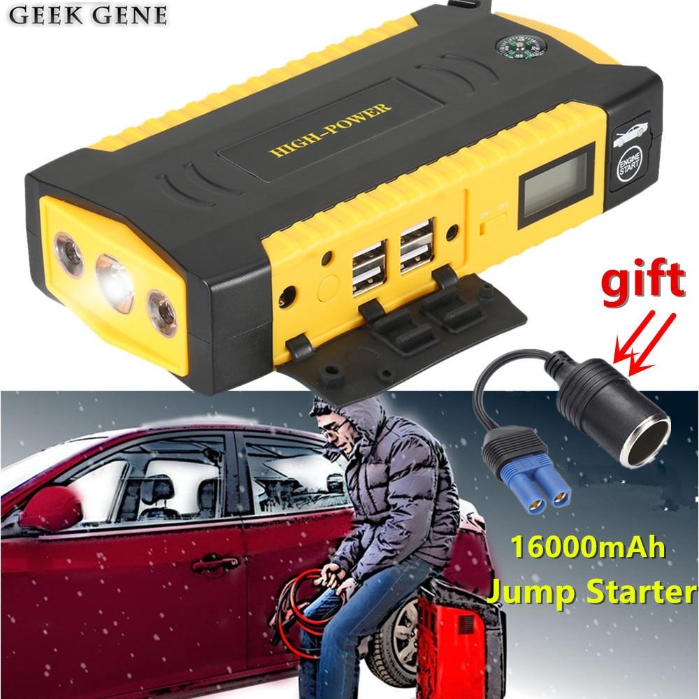 Автомобиль скачок starer 600A автомобиля Зарядное устройство для автомобиля Батарея Booster 16000 мАч переносной пусковое устройство Запасные Аккумуляторы для телефонов Дизель Бензин автоматический стартер