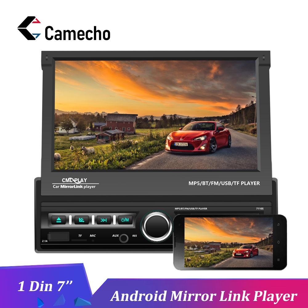 Camecho autoradio un Din 7 pouces Android miroir lien HD MP5 lecteur multimédia Bluetooth Audio stéréo AUX-IN FM USB Autoradios