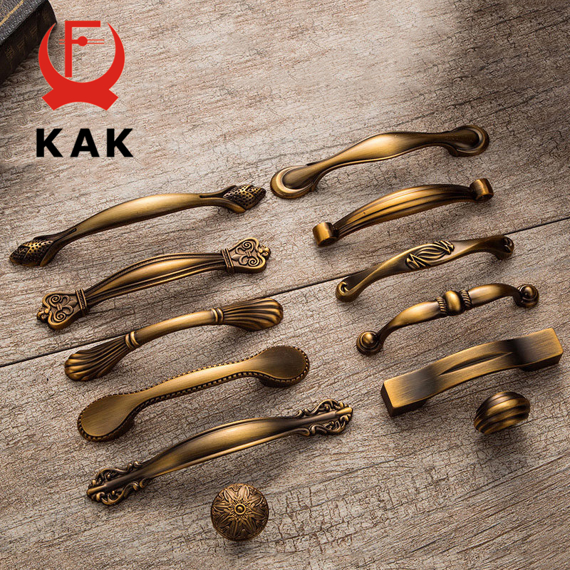 KAK Vintage Antique Yellow Bronze Cabinet Handles European Style Drawer Knobs Cupboard Wardrobe Door Handles Furniture Handles kak pumpkin ceramic handles 40mm drawer knobs cupboard door handles single hole cabinet handles with screws furniture handles