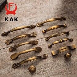 KAK винтажные антикварные желтые бронзовые ручки шкафа, ручки ящика в европейском стиле, ручки для шкафа, дверные ручки для мебели