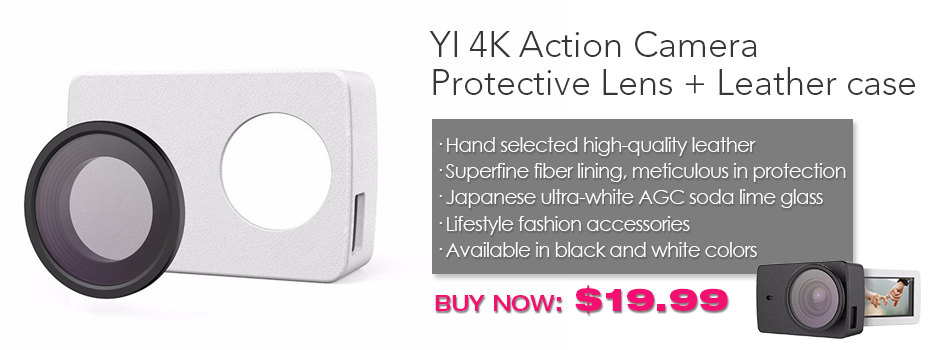YI 4K Action Camera Protective Lens and Leather case-banner