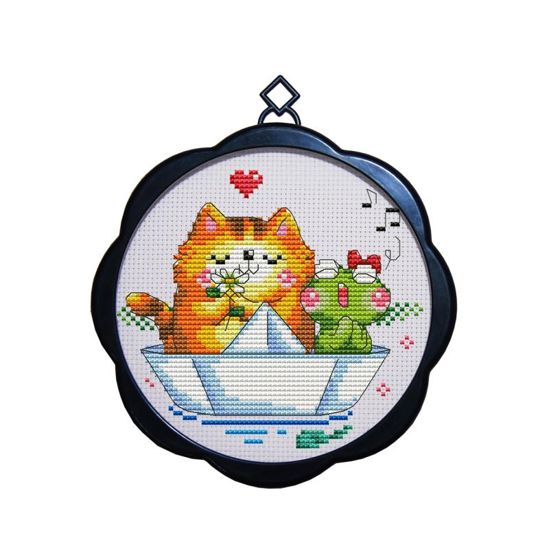 Cross Stitch Kit Embroidery with frame painting, mini small simple ...