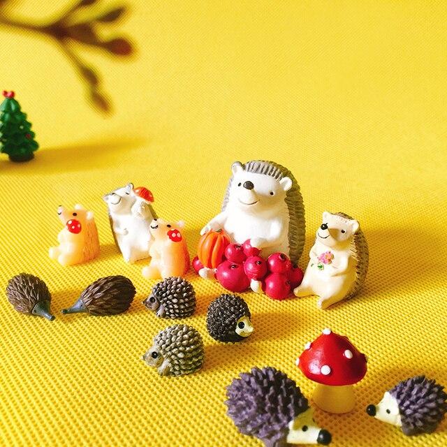 sale~hedgehog with fruits mushroom/fairy garden gnome/moss terrarium home decor/crafts/bonsai/bottle garden/miniatures/figurine