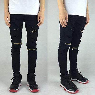 2016 Chegada Nova Designer Jeans Men, Caráter Ripped Holes Casual dos homens Calças de Brim, 100% Algodão, Dois cores